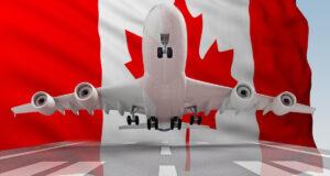 طائرة تقلع على خلفية علم كندا. عرض ثلاثي الأبعاد