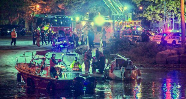 صورة للشرطة أثناء انتشال جثيتين من بحيرة في مونتريال