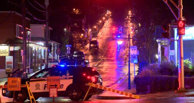 صورة لموقع اطلاق النار في كيبيك حيث حصل مقتل رجل وإصابة امرأة في إطلاق نار خارج مطعم