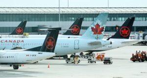 صورة لطائرات شركة كندا للطيران حيث ارتفعت أسهم طيران كندا كثيراً بسبب أخبار المعونة الحكومية المحتملة وتطوير اللقاحات