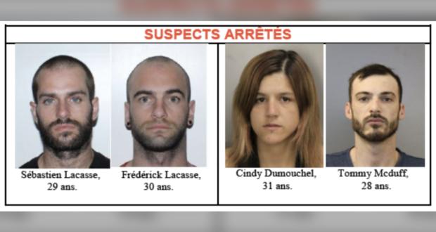 صورة لأربعة من المشتبه بهم ،يواجه خمسة مشتبه بهم 80 تهمة مرتبطة بسلسلة سرقات المحولات الحفازة من السيارات