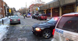 تم نصب مسرح جريمة بالقرب من مترو جولييت في مونتريال بعد إطلاق النار على رجل صباح الخميس.