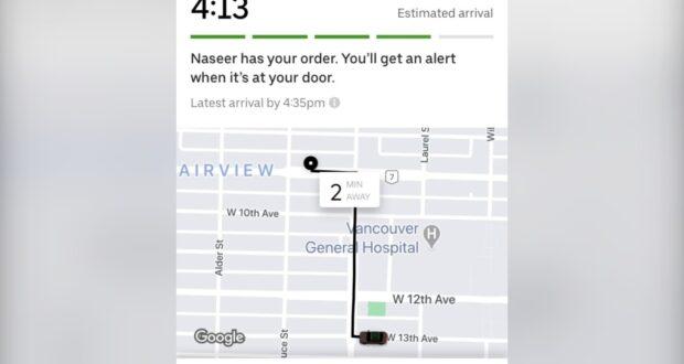صورة من تطبيق أوبر للطعام توضع طريق التوصيل ووقت الوقت، حيث تم اختراق حساب أوبر للطعام لإمرأة حيث تم إرسال أطعمة ب300 دولار إلى عدة عناوين
