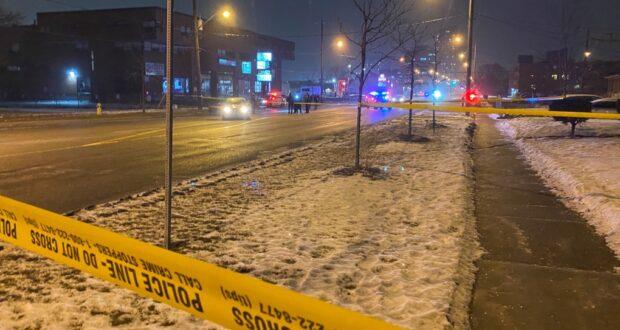 صورة لموقع حادثة اطلاق النار حيث وفاة رجل في المستشفى بعد حادثة إطلاق نار في شمال يورك