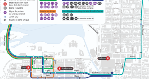 تقوم شركة غاتينيو العامة للنقل الخارجي بتعديل الطرق في أوتاوا حيث شركة غاتينيو العامة للنقل الخارجي تعدل الطرق لتقليل حركة الحافلات وسط مدينة أوتاوا