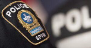 صورة شارة شرطة مونتريال تظهر خلال مؤتمر صحفي في مونتريال ، الإثنين ، 7 أكتوبر ، 2019.تم العثور على شابة فقدت الأسبوع الماضي في مونتريال بصحة جيدة